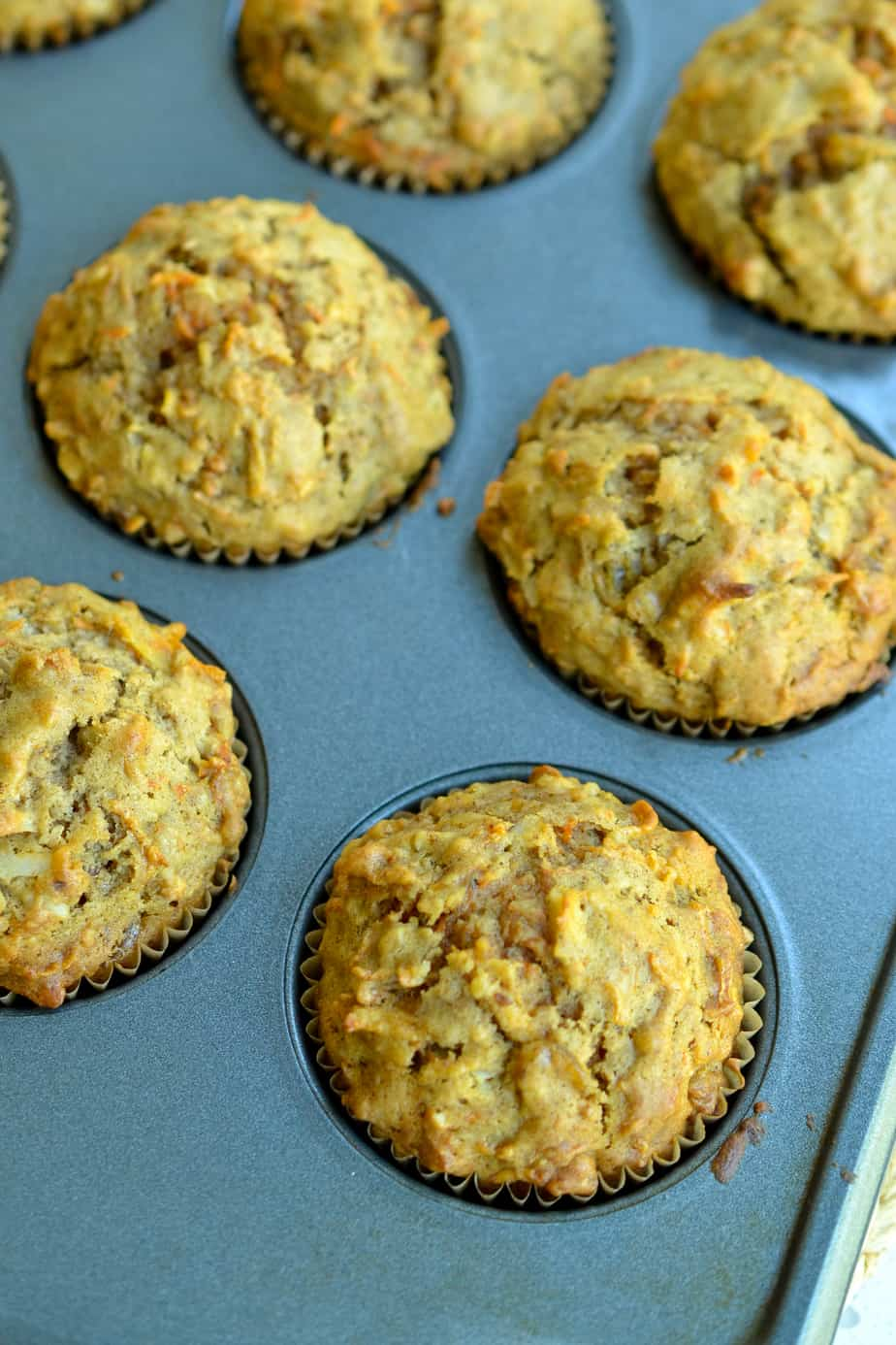 A tin full of fresh muffins.