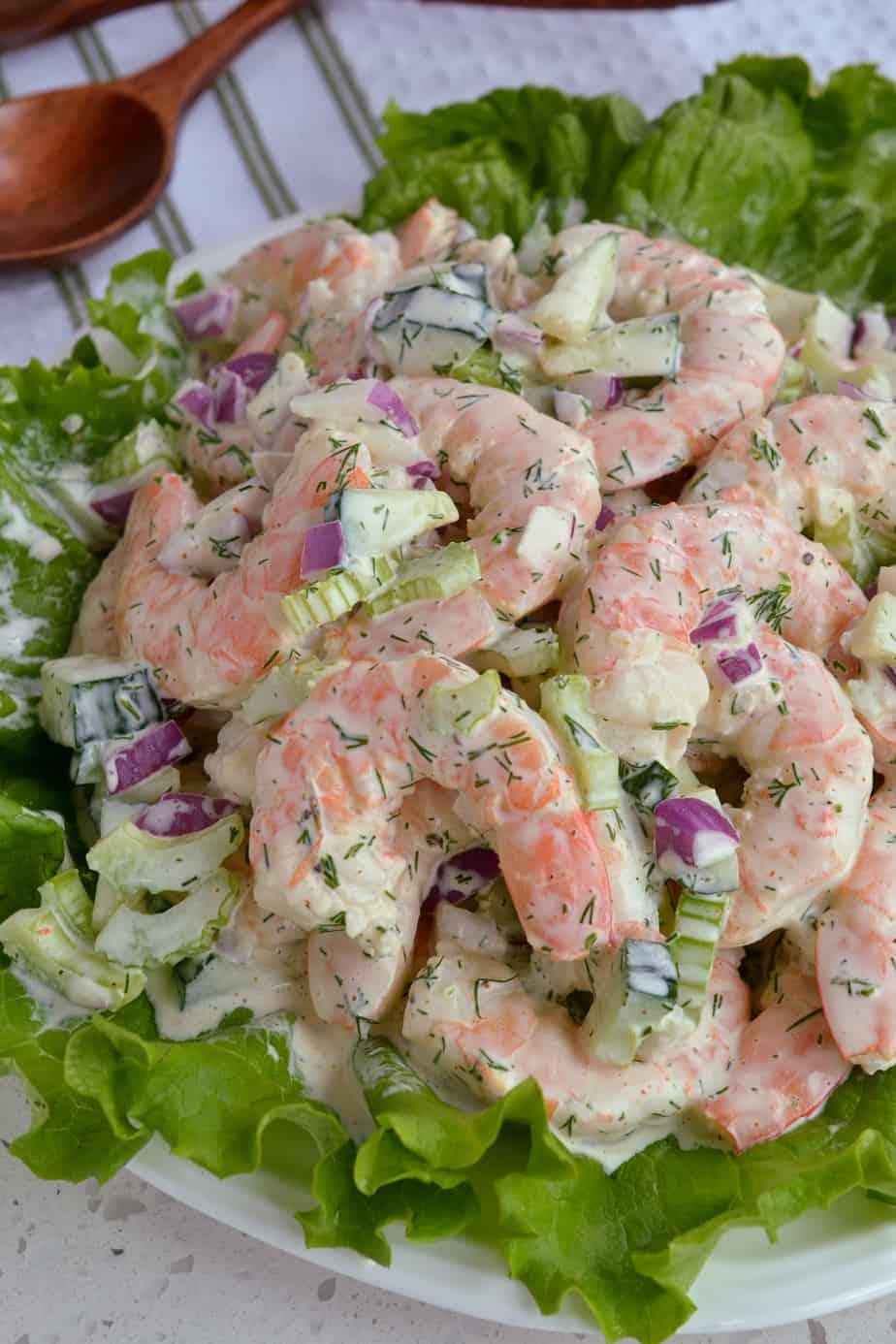 Shrimp Salad piled on leaf lettuce