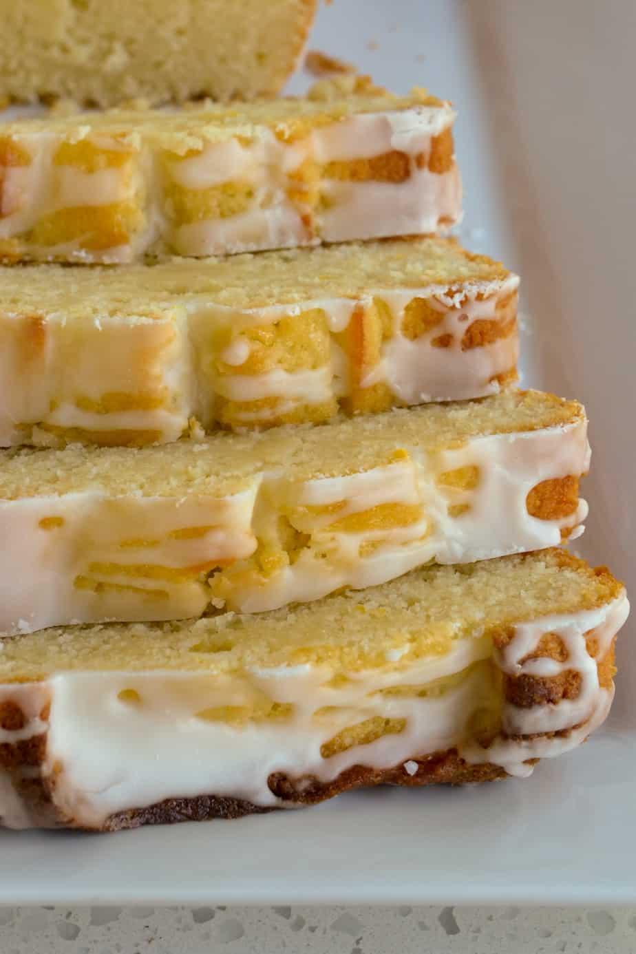 Slices of lemon glazed pound cake