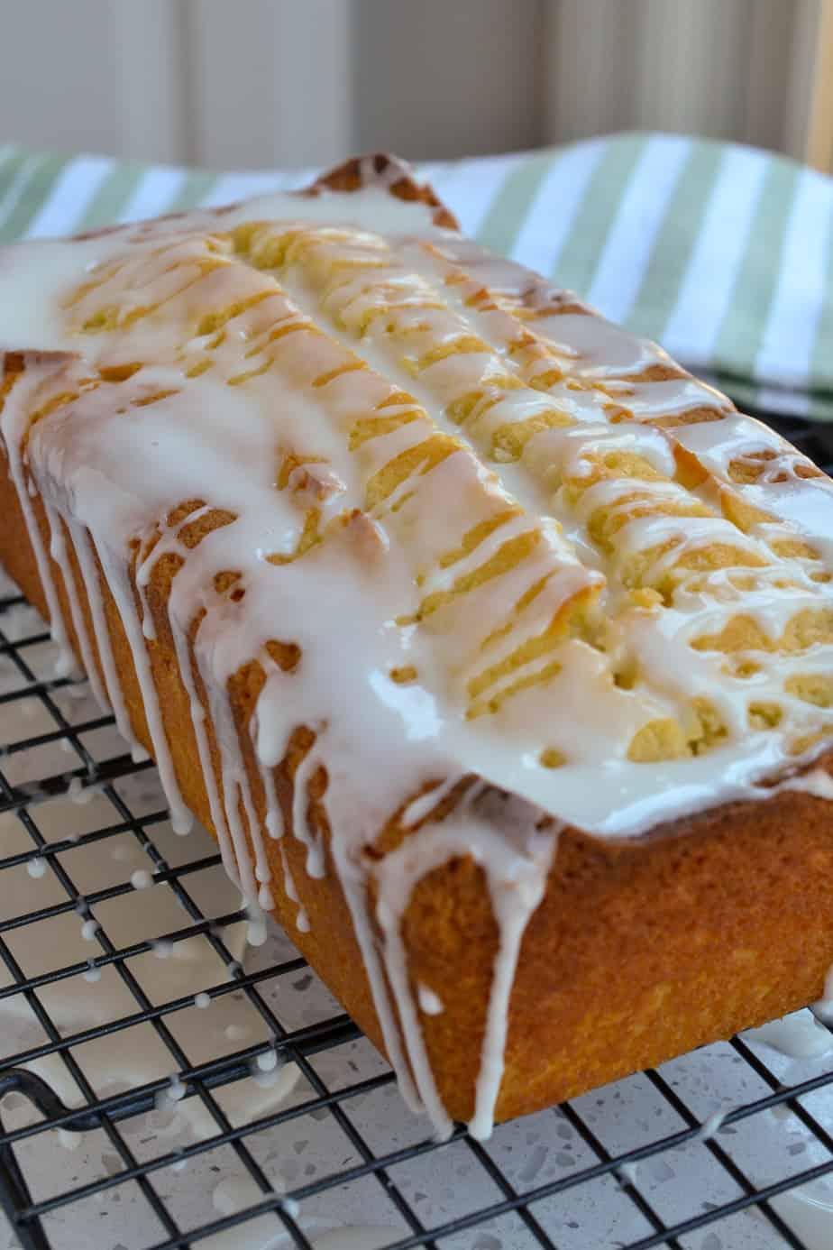 A whole loaf of glazed lemon pound cake