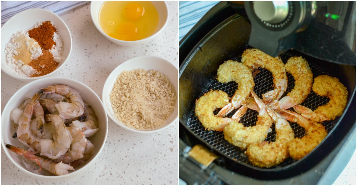 Shrimp are dredged in flour, then eggs, and finally breadcrumbs.