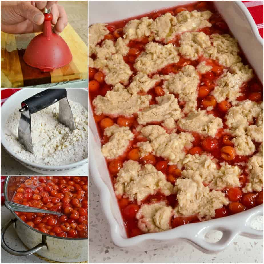 There are several steps to making homemade cherry cobbler.