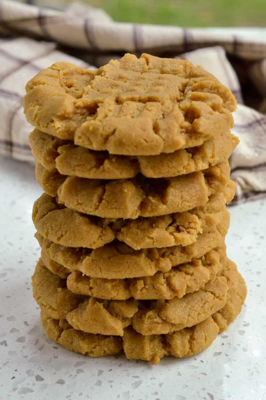 A stack of flourless peanut butter cookies