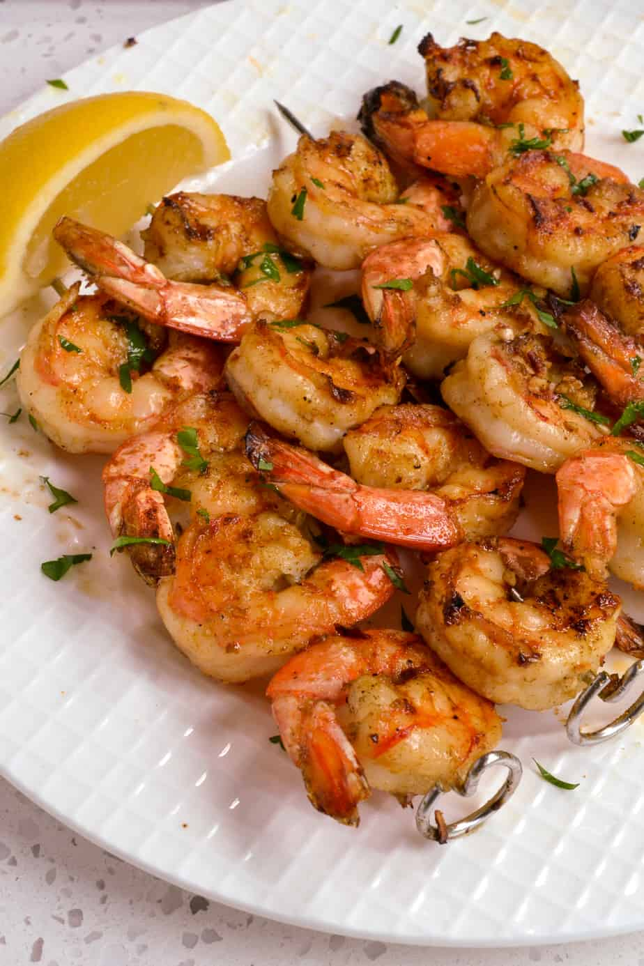 Fresh shrimp grilled with lemon and parsley.