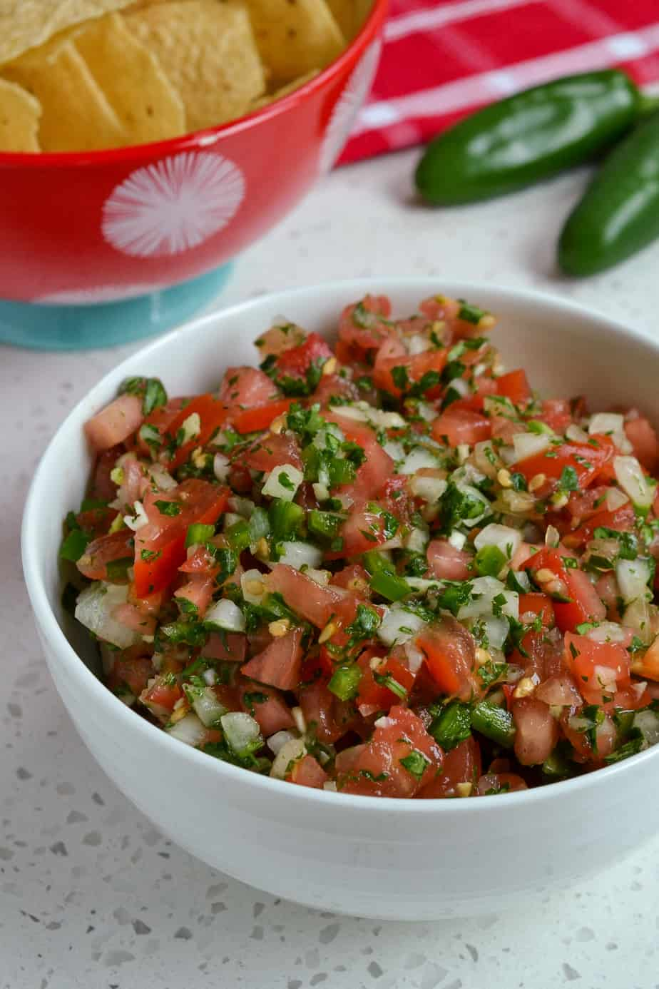 Bowl of Pico de Gallo with tortilla chips on the side.