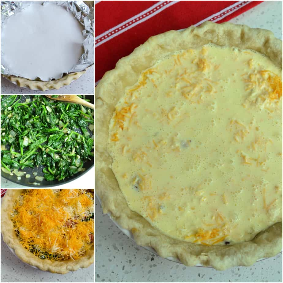 There are several steps to baking a quiche.