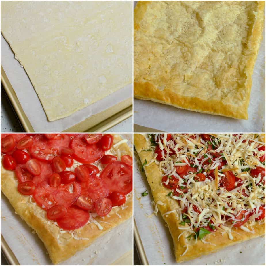 There are several steps to making tomato tart