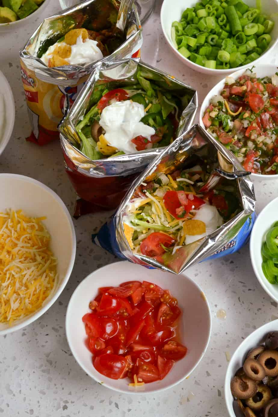 Assorted tacos with different toppings