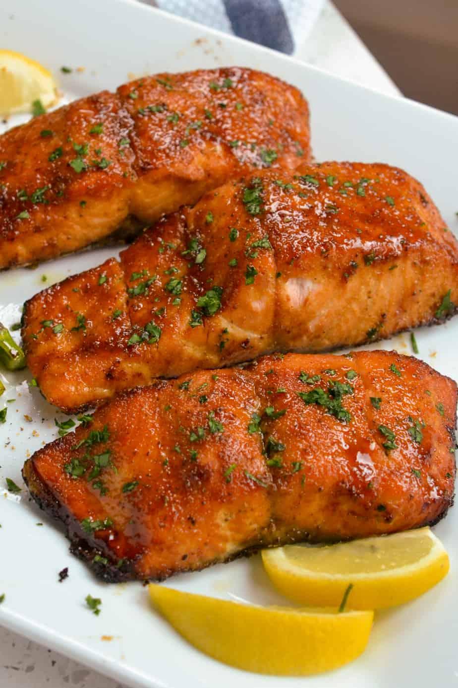Salmon filets on a plattter.