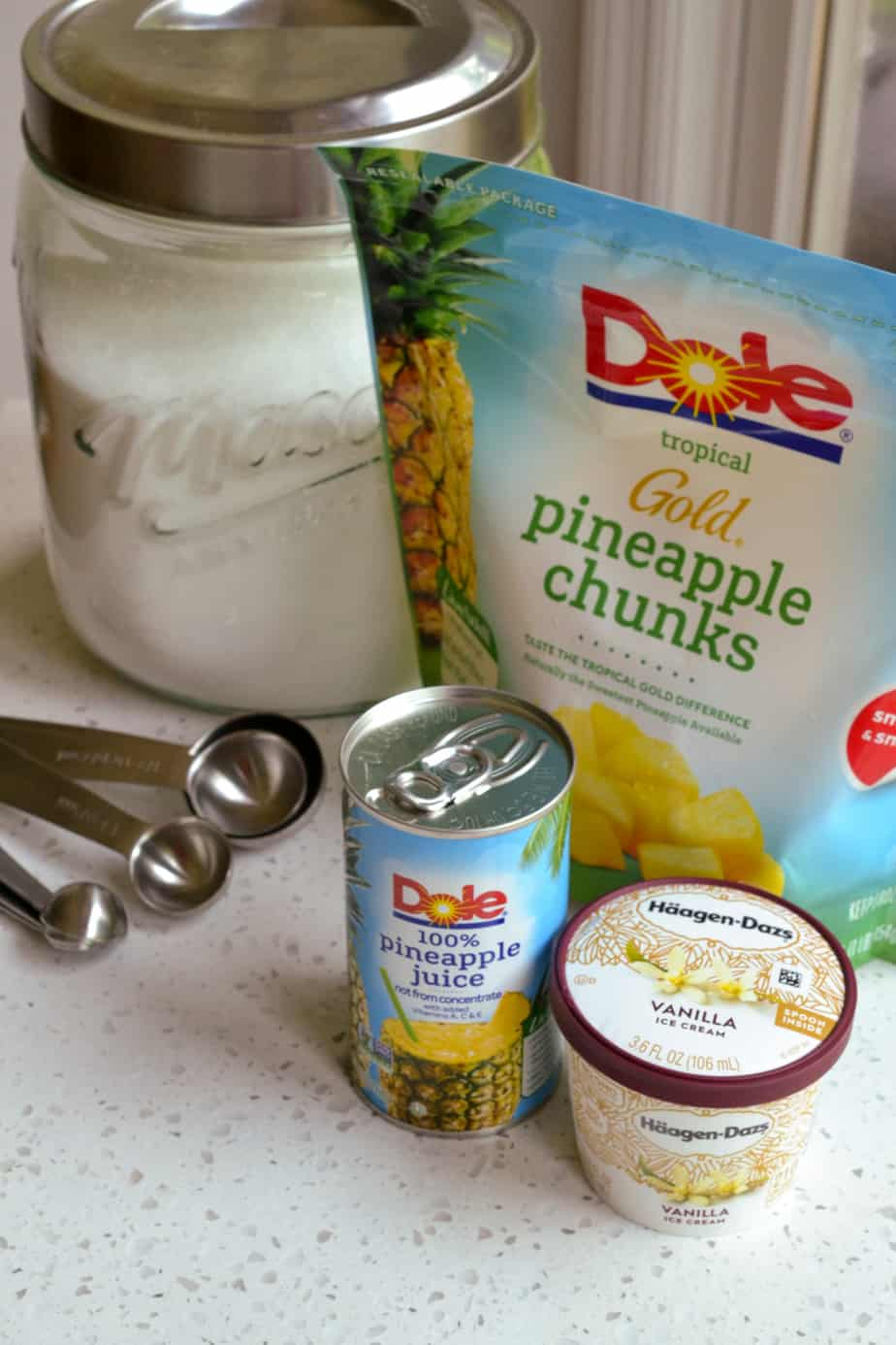 The ingredients needed to make Dole Whip
