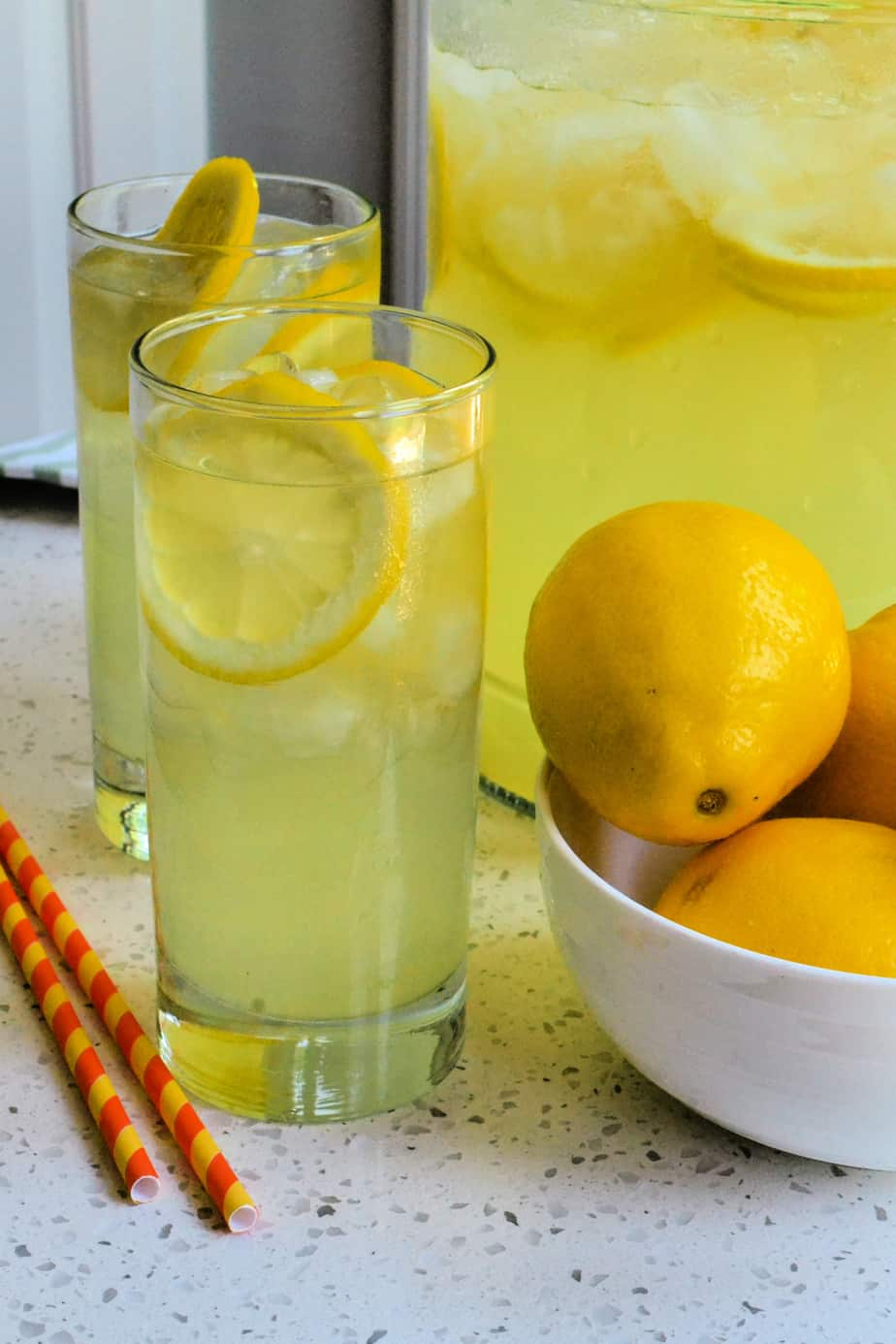 Glassed filled with ice cold homemade lemonade.