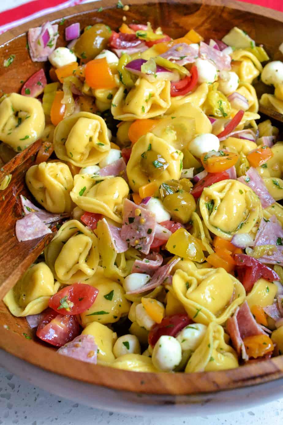 Bowl full of Italian Tortellini Pasta Salad