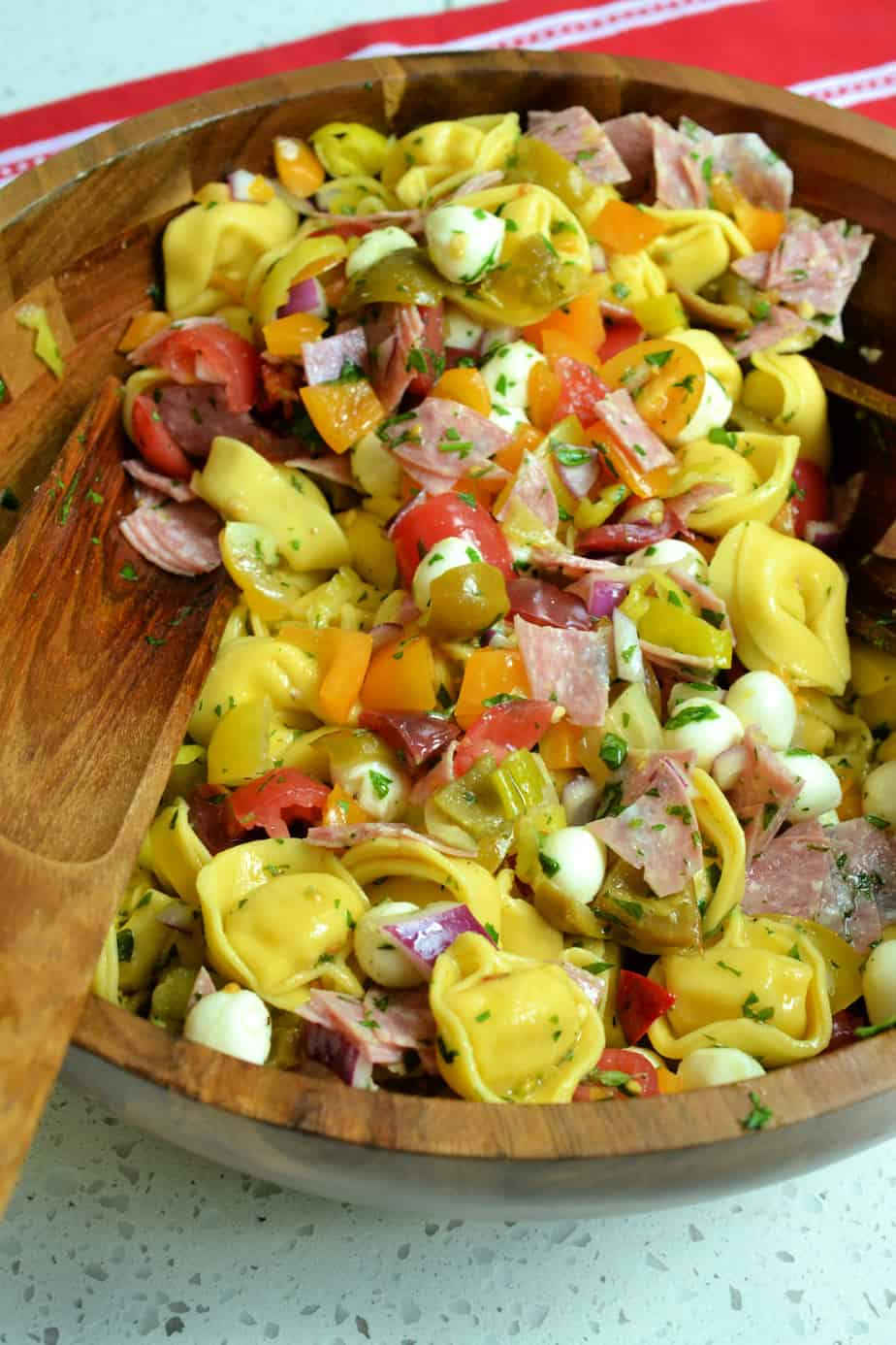 Italian Tortellini Pasta with tomatoes, bell peppers, mozzarella, and pepperoncini.