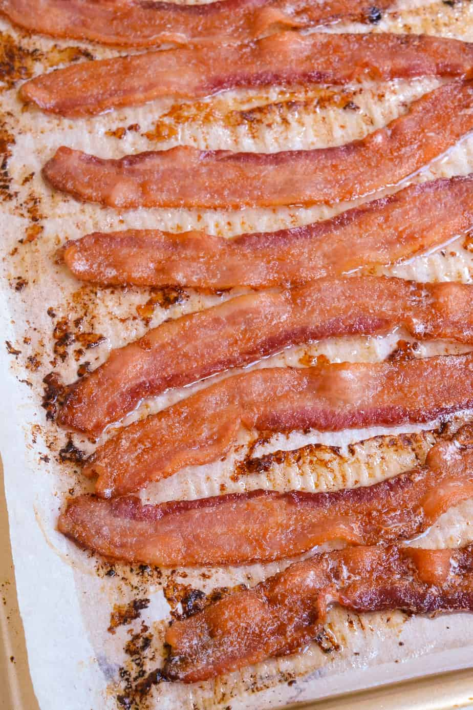 A baking sheet full of crispy cooked oven bacon.