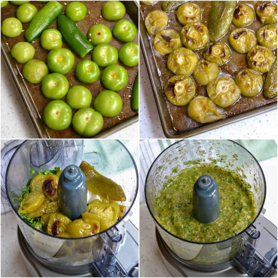 One of the steps to making green salsa is to roast the tomatillos and jalapeno peppers.