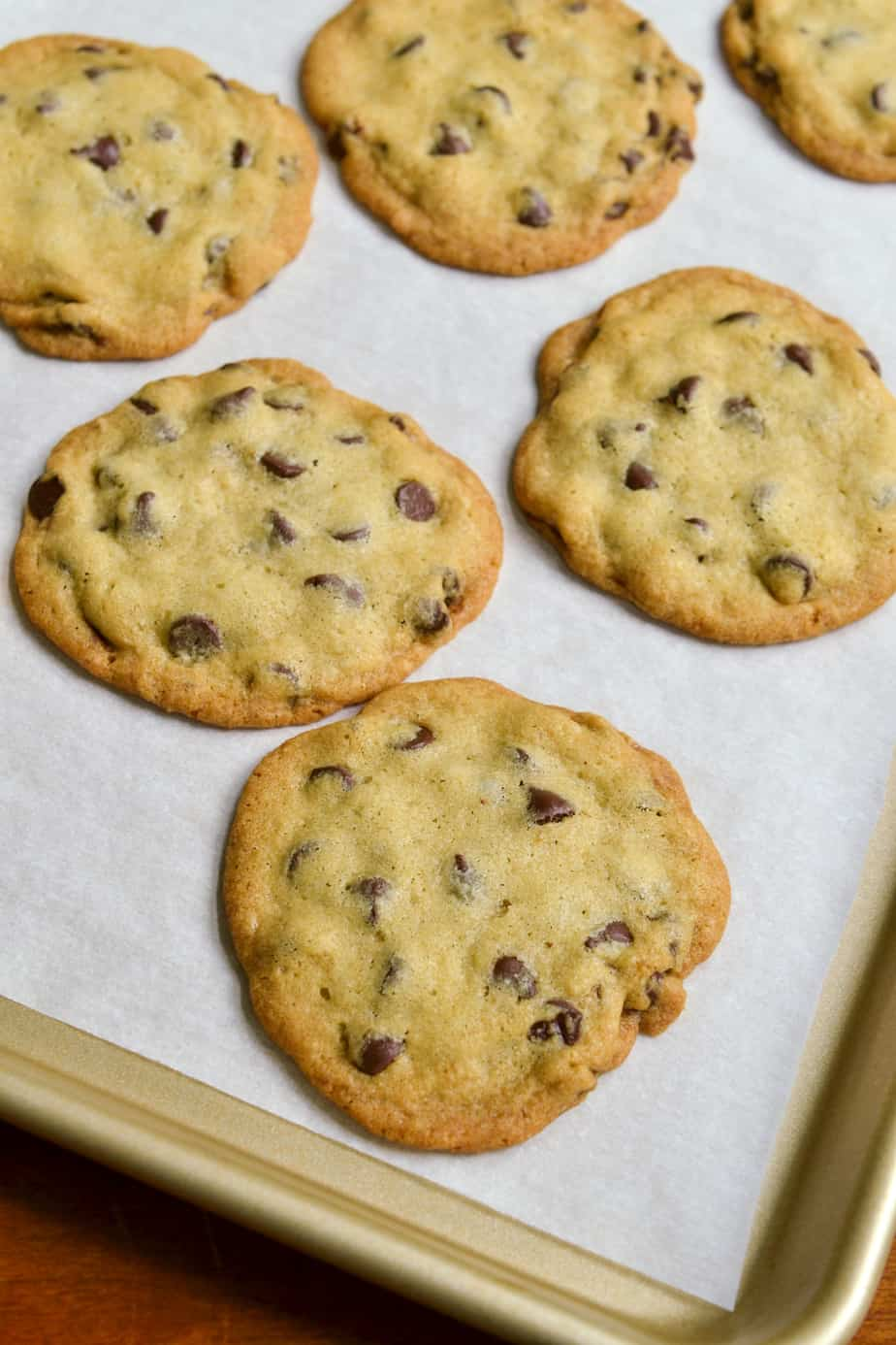 A baking sheet full of crispy chocolate chip cookies.