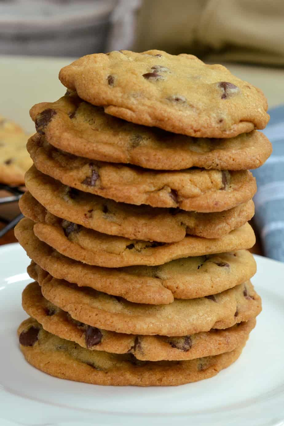 A stack of thin crispy chocolate chip cookies