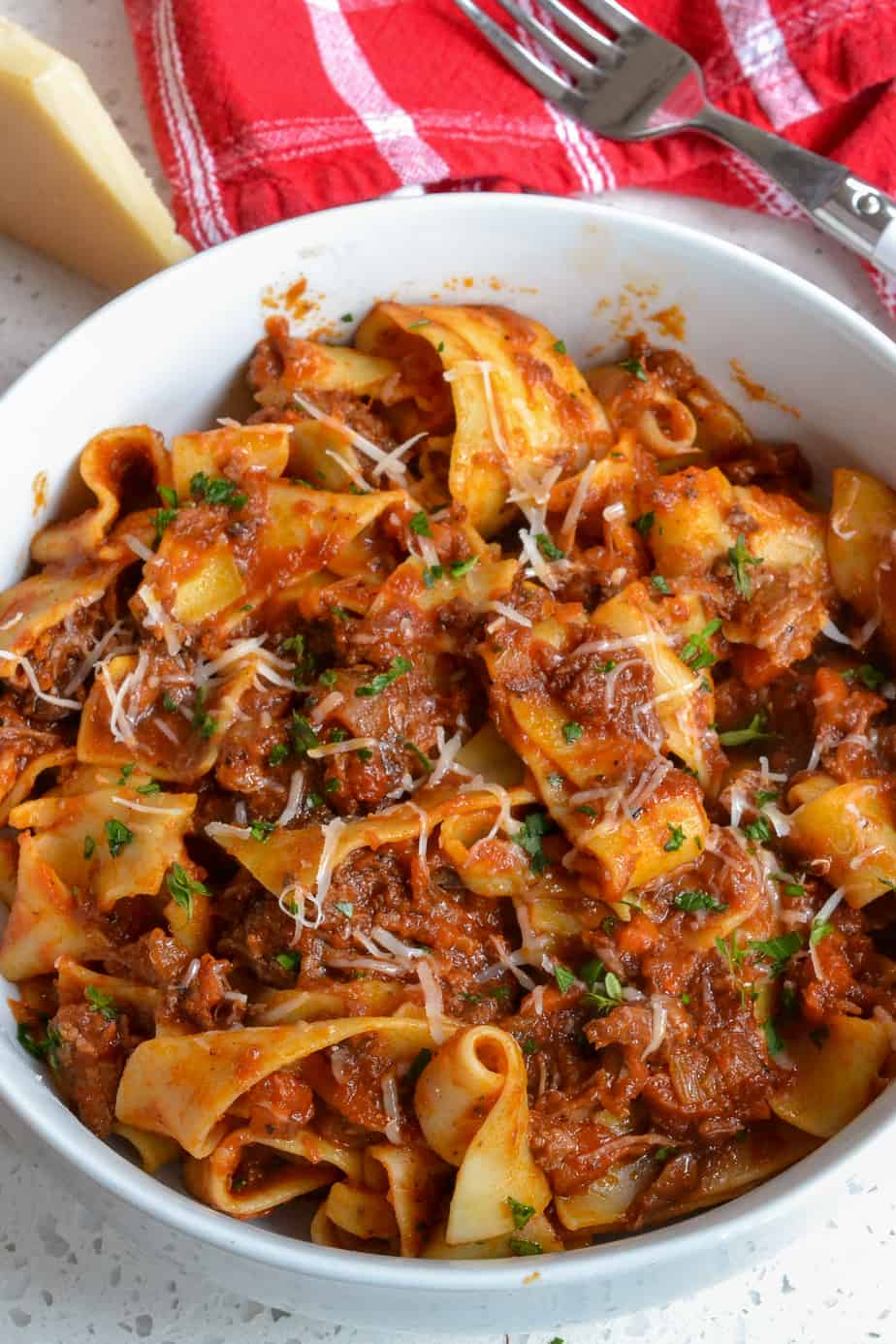 A bowl full of Beef Ragu with Pappardelle Pasta.