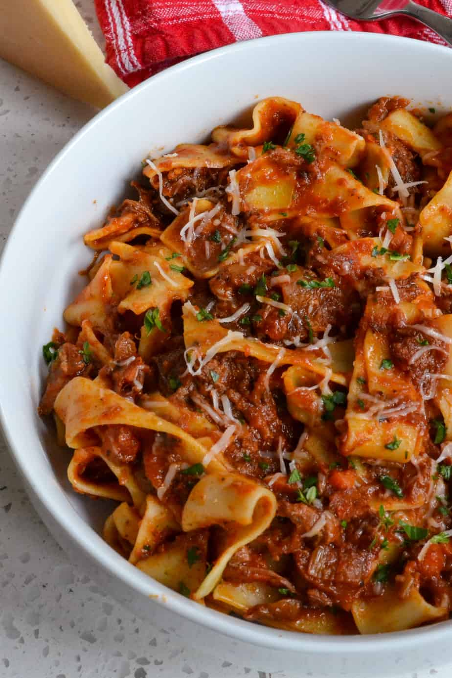 Pappardelle pasta mixed with slow cooked beef ragu.