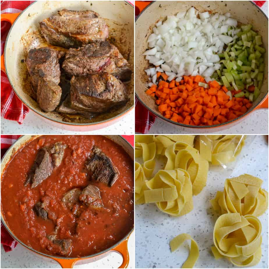 There are several steps to making Beef Ragu.