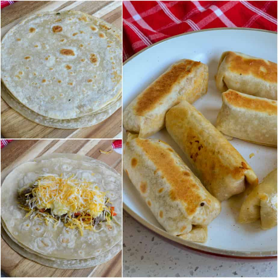 Brown the tortillas, assemble the burritos, and brown the burritos.