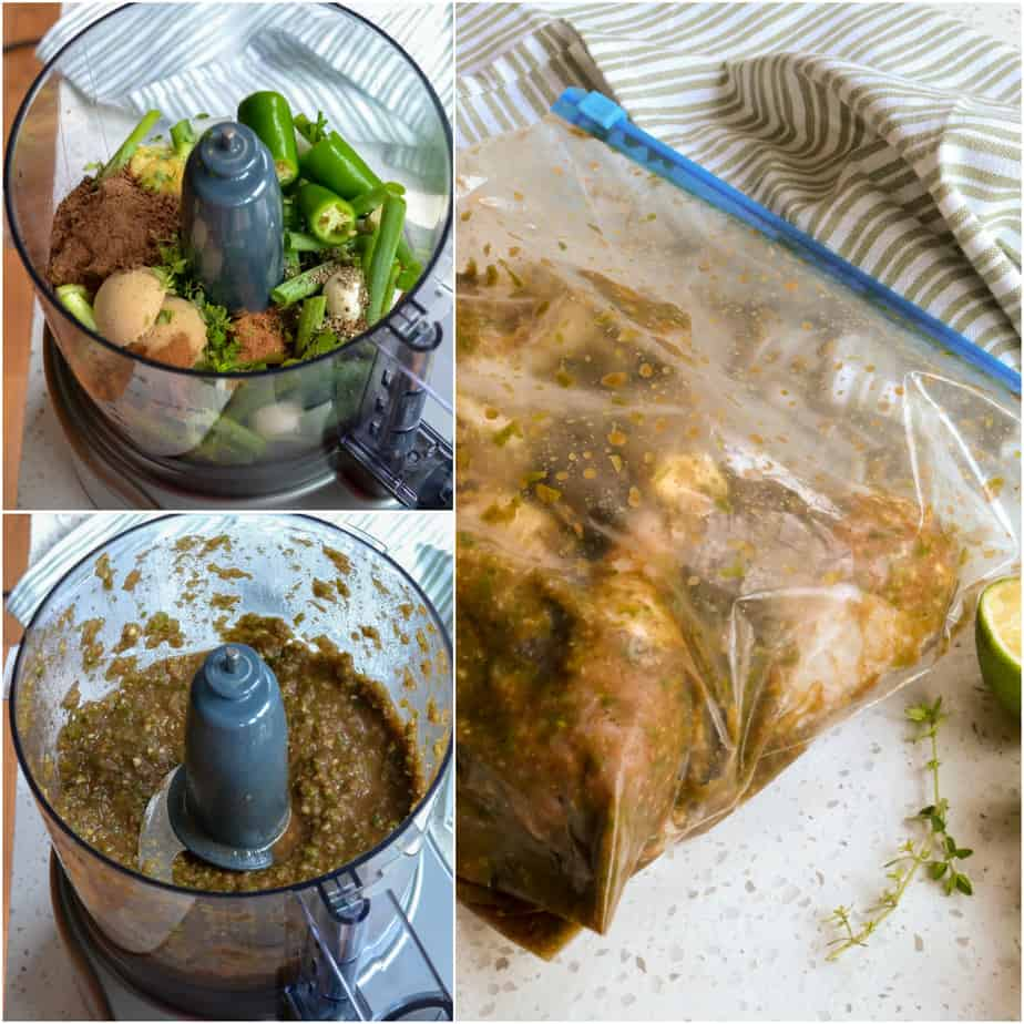 Preparing the jerk marinade is quick and easy in a food processor.