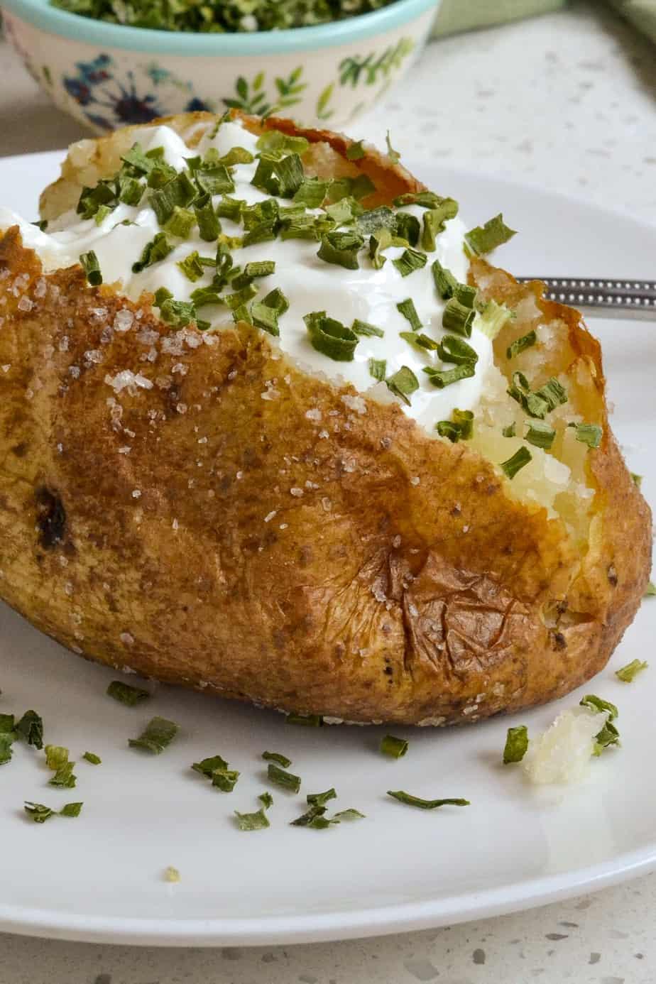 Crispy oven baked steakhouse style potato.