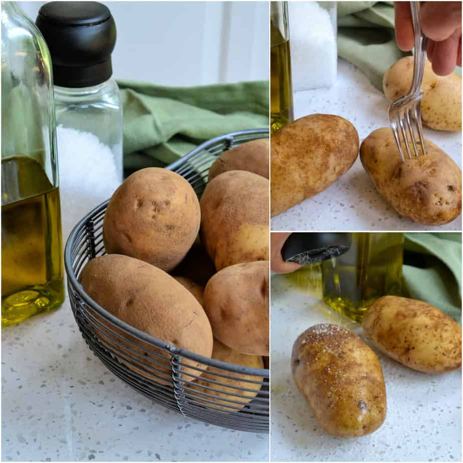 There are a few quick and easy steps to making oven baked potatoes.