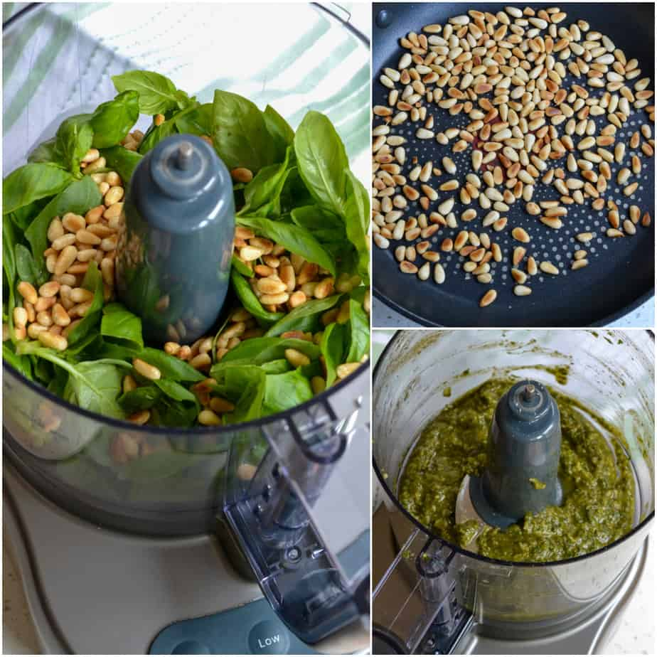 Fresh pesto sauce is made easy in a food processor.