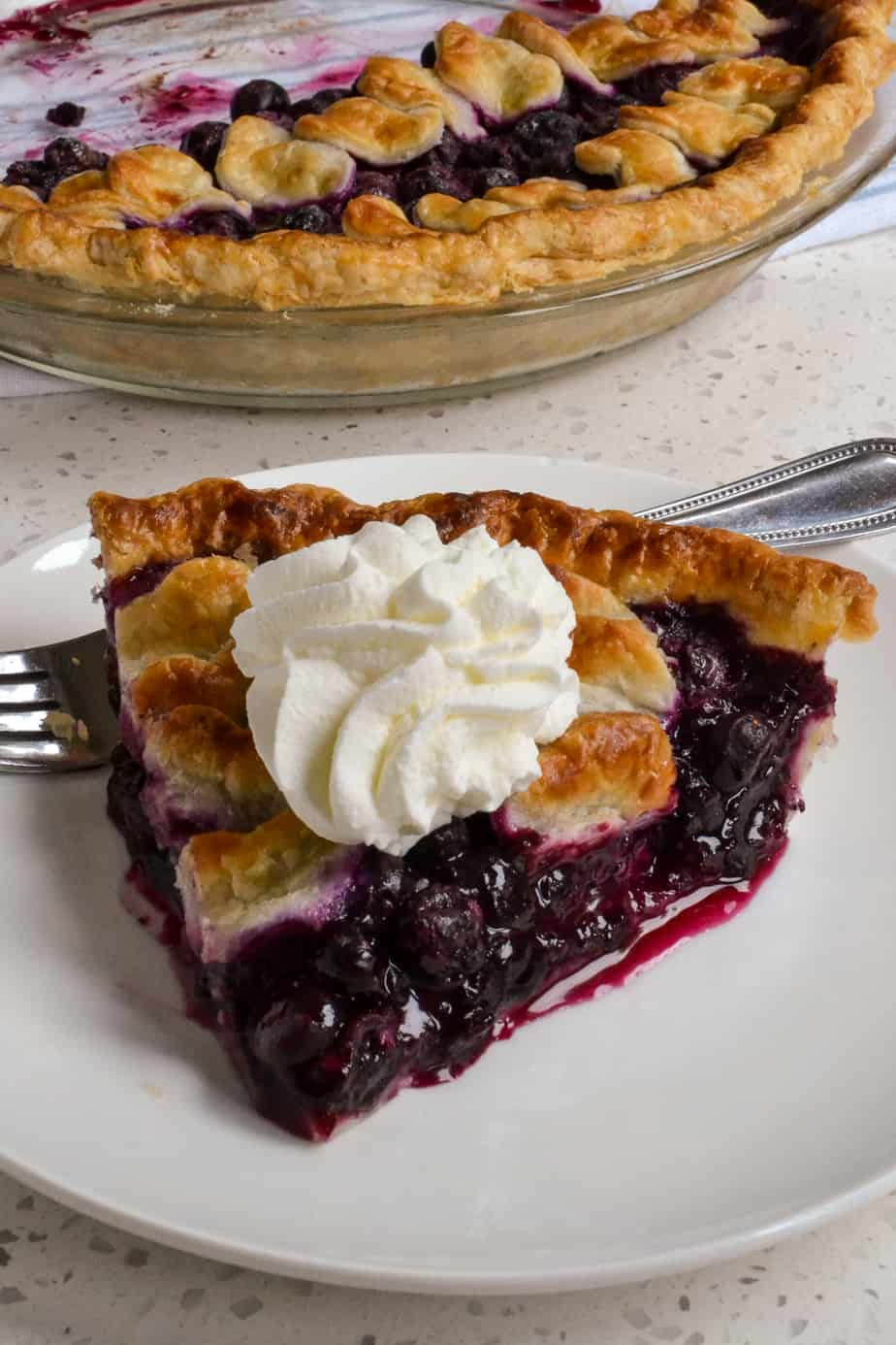 A slice of homemade blueberry pie