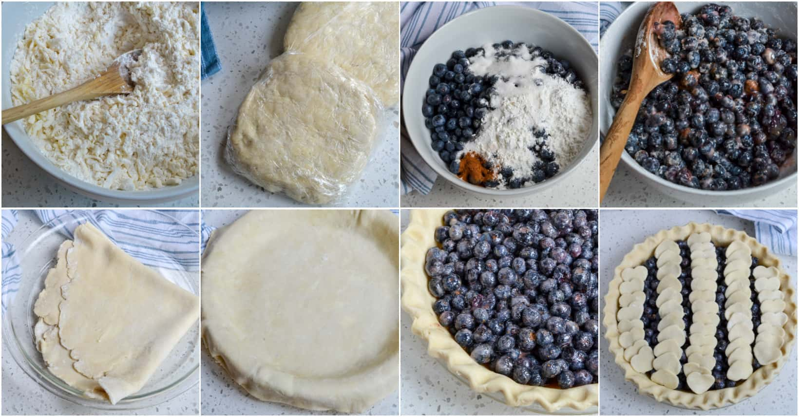 The steps to making a blueberry pie