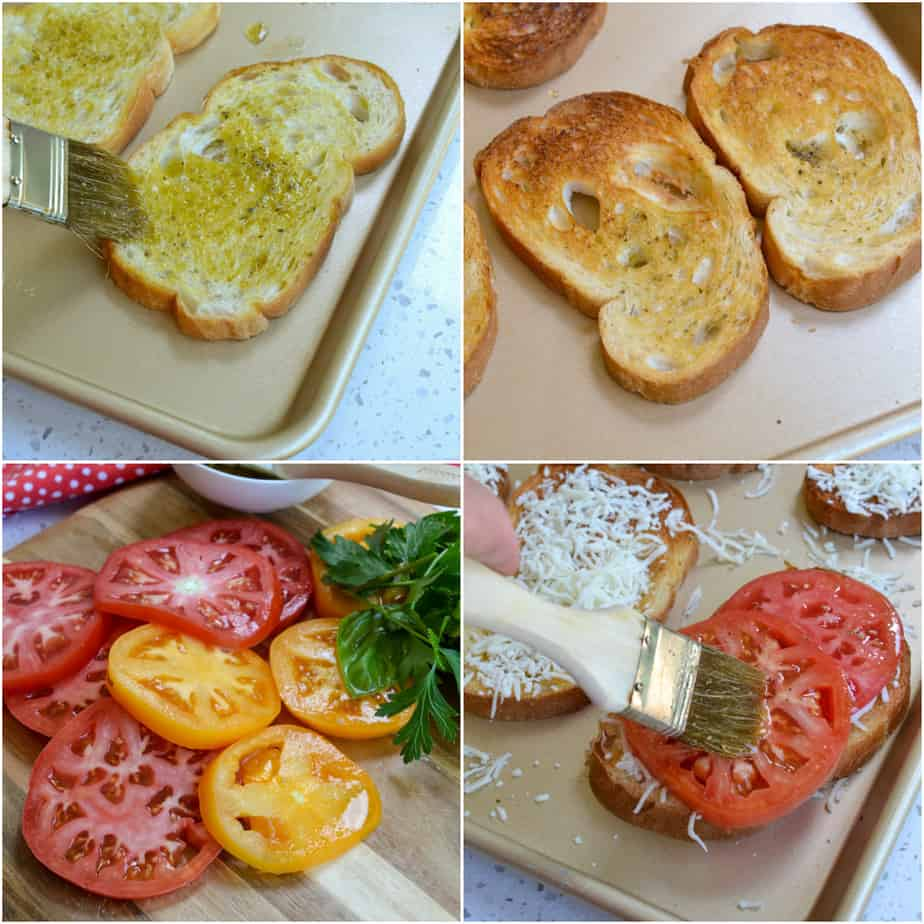 There are several steps to making broiled tomato sandwiches.