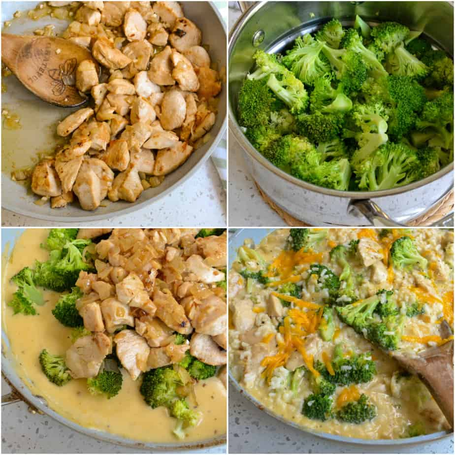 Start by cooking the chicken, broccoli, and cheese sauce.