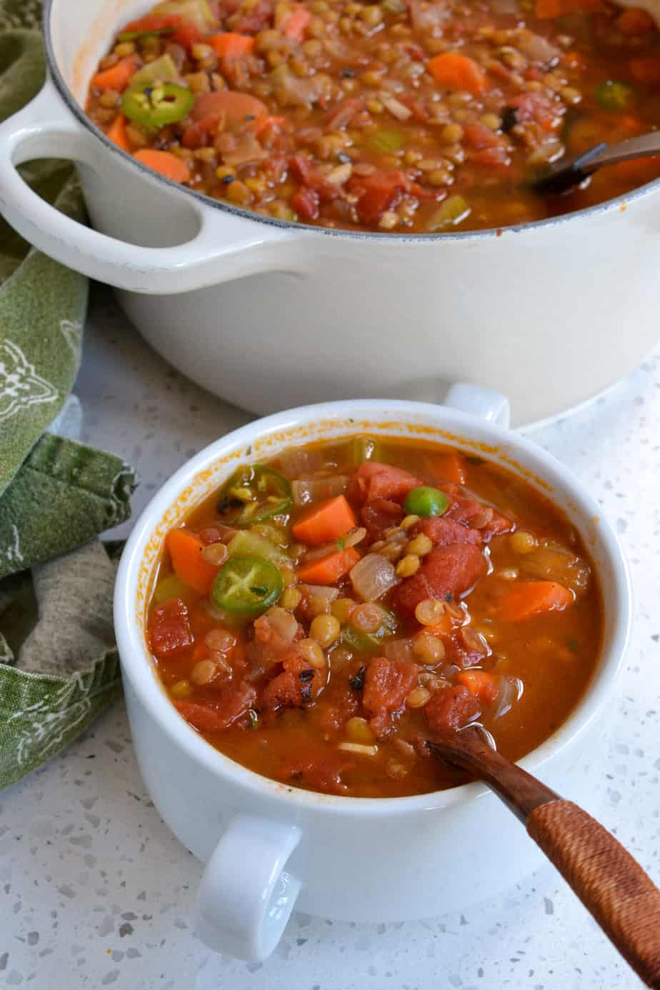 A bowl full of vegan lentil vegetable soup with tomatoes, carrots, onion, and celery.