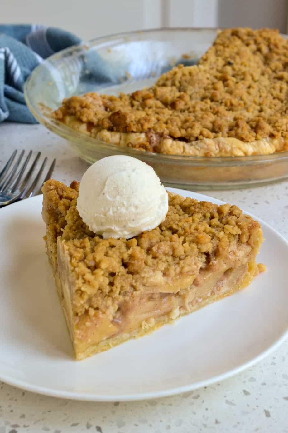 A slice of Dutch Apple Pie a la mode.