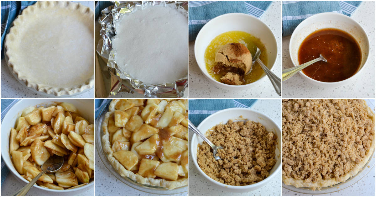 There are several steps to making an apple pie.
