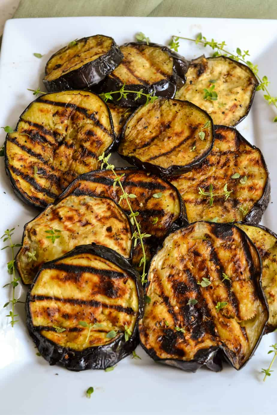 Fresh eggplant grilled with olive oil and herbs.