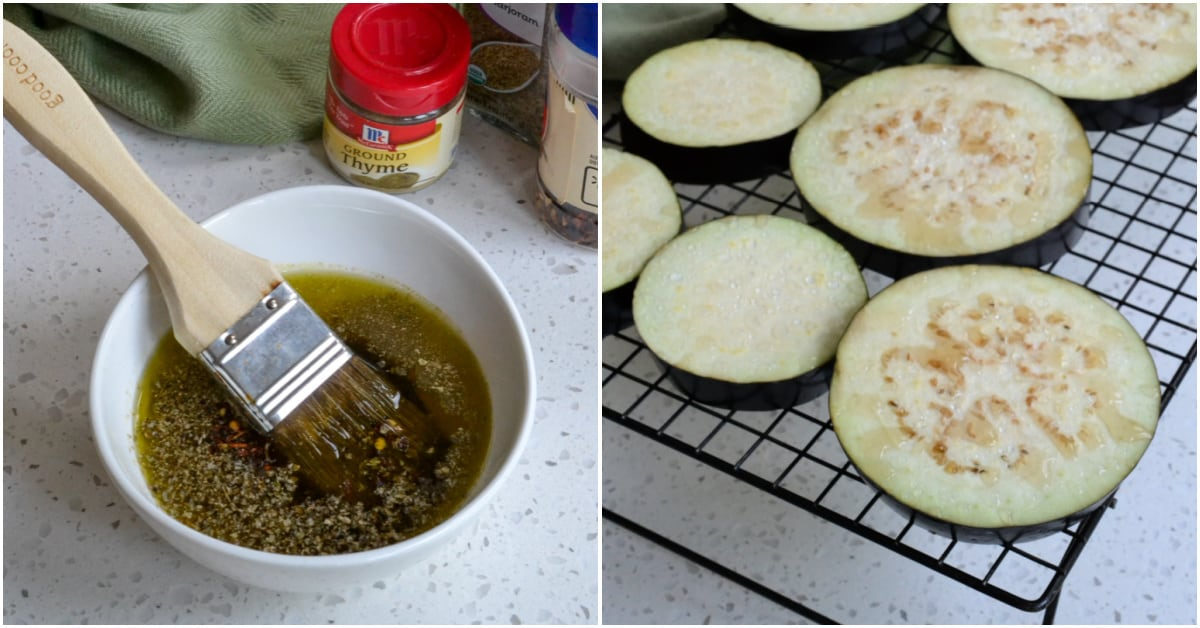 Brush the eggplant slices with olive oil and herbs.