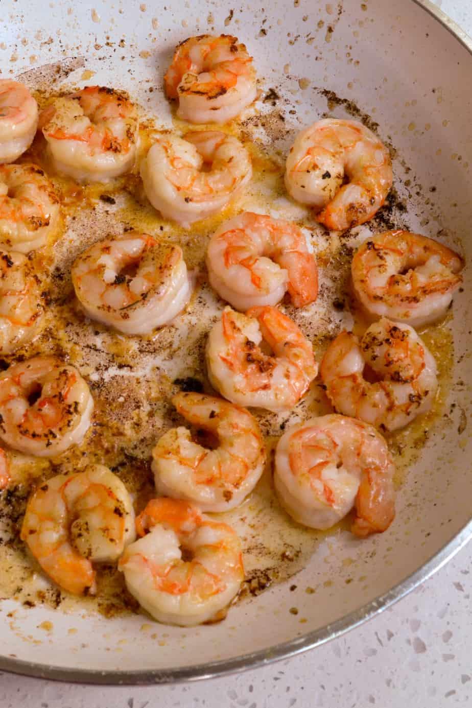 Sauté the shrimp for 1 1/2-2 minutes per side.