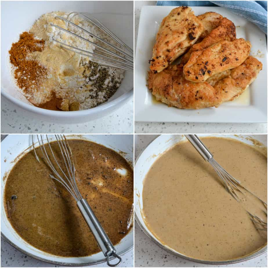 There are several steps to making smothered chicken breasts.