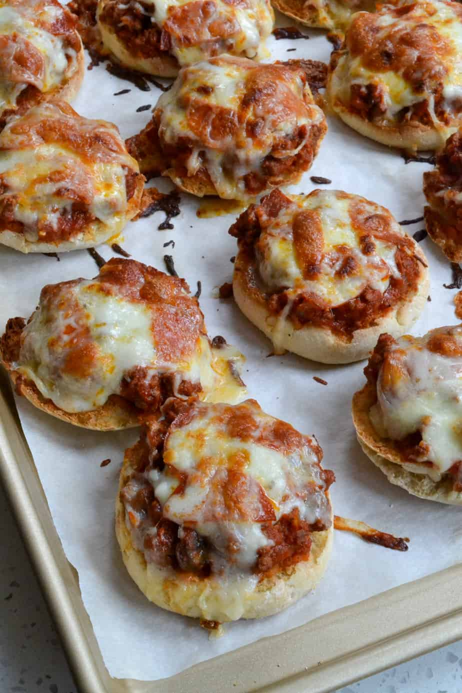 Pizza Burgers with ground beef, pepperoni, mushrooms, and mozzarella.