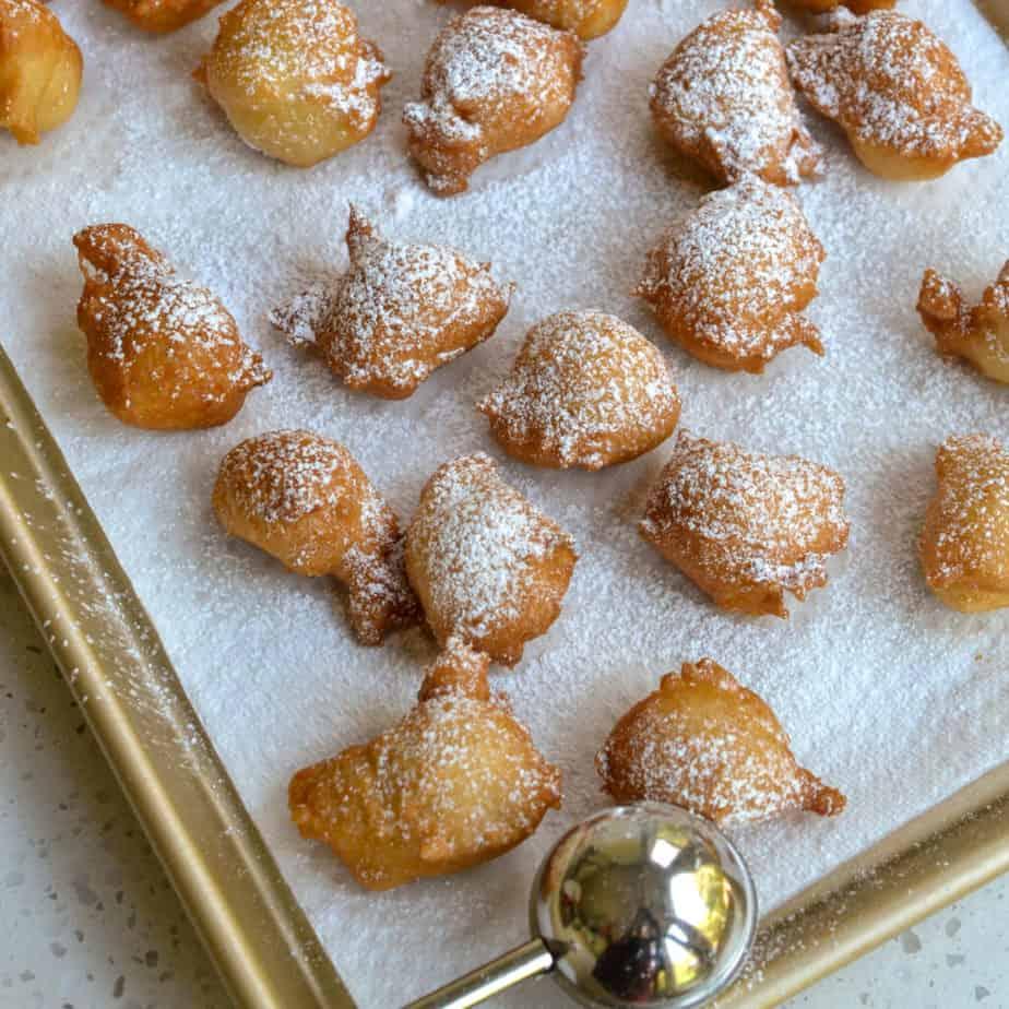 Italian Zeppole on a baking sheet