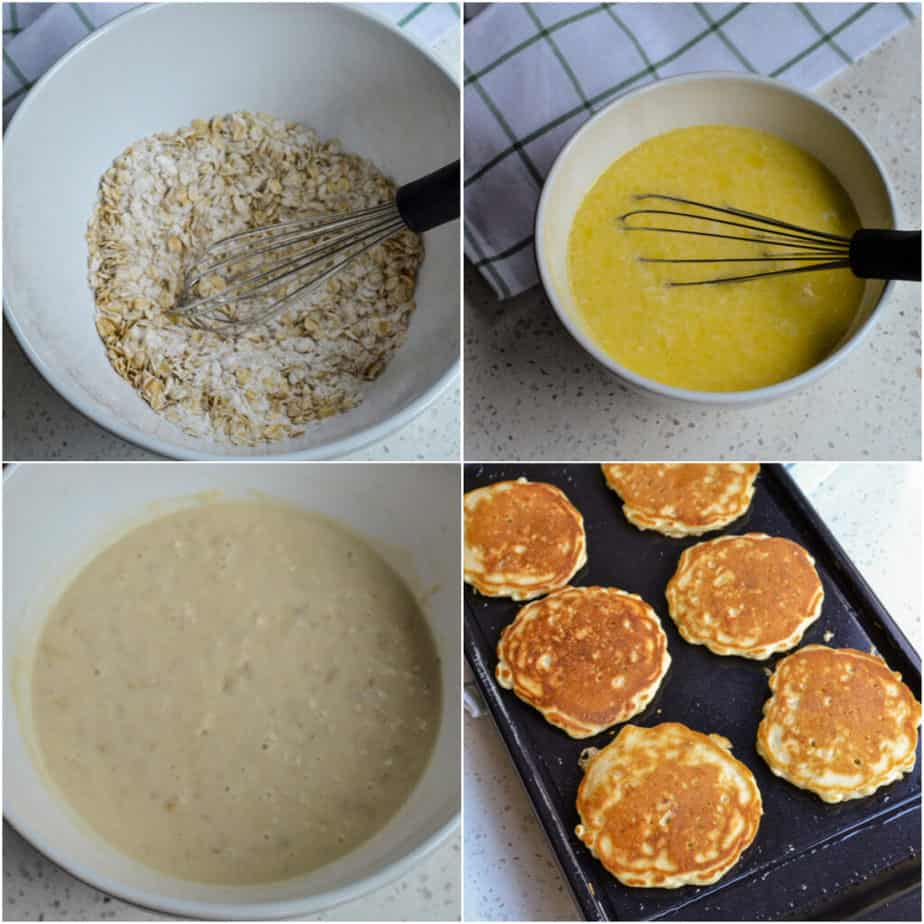 There are several steps to making Buttermilk Oatmeal Pancakes.