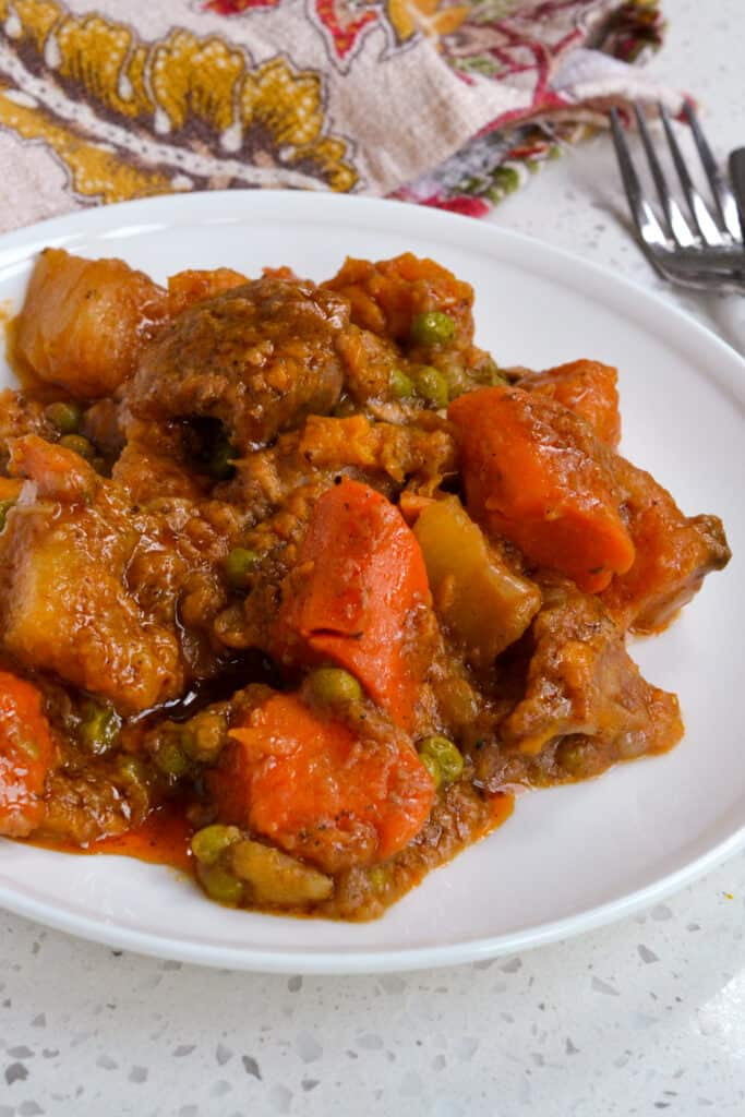 A plate full of homemade pork stew with root vegetables.